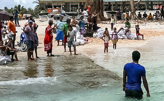People standing on the shore of a tropical island