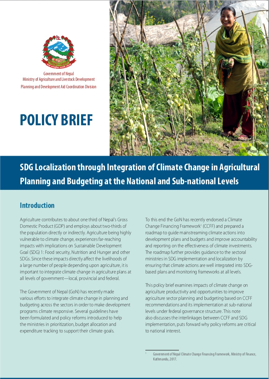 SDG Localization through Integration of Climate Change in Agricultural Planning and Budgeting at the National and Sub-national Levels