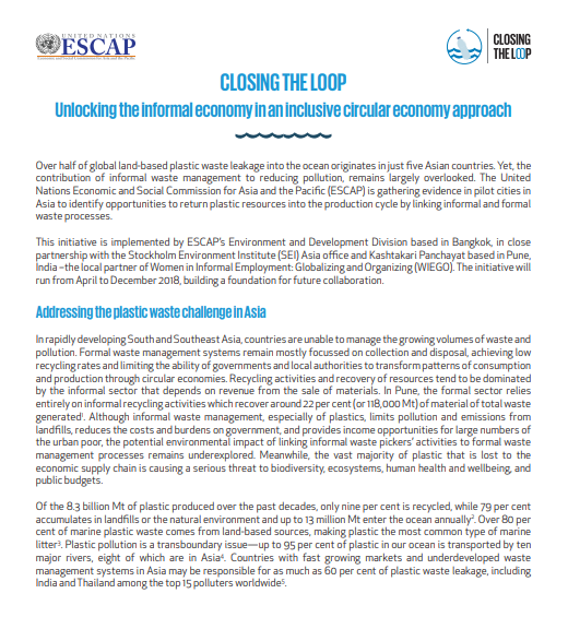 CLOSING THE LOOP: Unlocking the informal economy in an inclusive circular economy approach