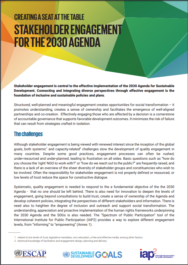 stakeholder engagement for the 2030 agenda