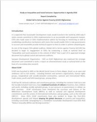 Social Inequality and Exclusion in Afghanistan: Opportunities in Agenda 2030