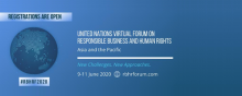 Banner, blue, UN Virtual Forum on Responsible Business and Human Rights